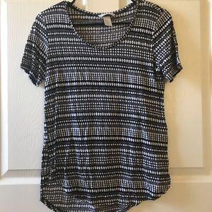 H&M Black And White Striped Tshirt Sz XS